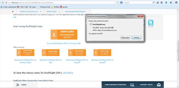 DraftSight 2015 - skąd pobrać i jak zainstalować bezpłatny CAD 2D